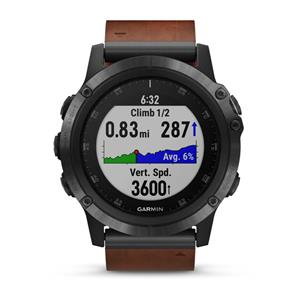Garmin fenix 5X Plus Sapphire, Slate Gray, Leather band