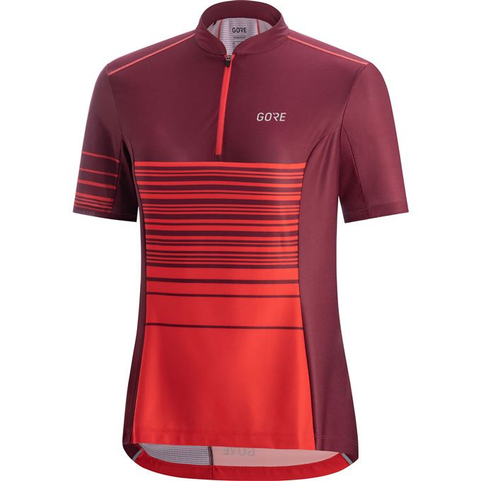 GORE C3 Women Striped Zip Jersey-hibiscus pink/chestnut red-34